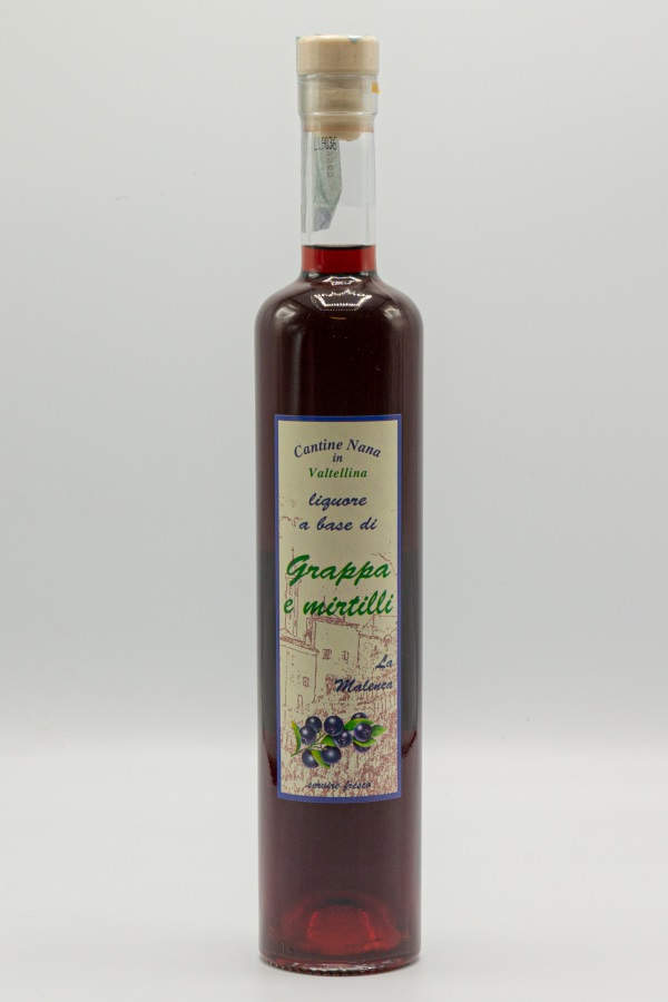 Liquore a base di Grappa e mirtilli